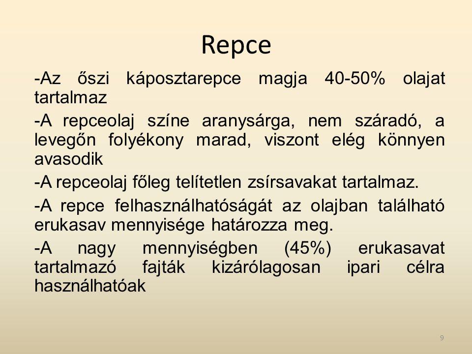 Repce -Az őszi káposztarepce magja 40-50% olajat tartalmaz -A repceolaj színe aranysárga, nem száradó, a levegőn folyékony marad, viszont elég könnyen