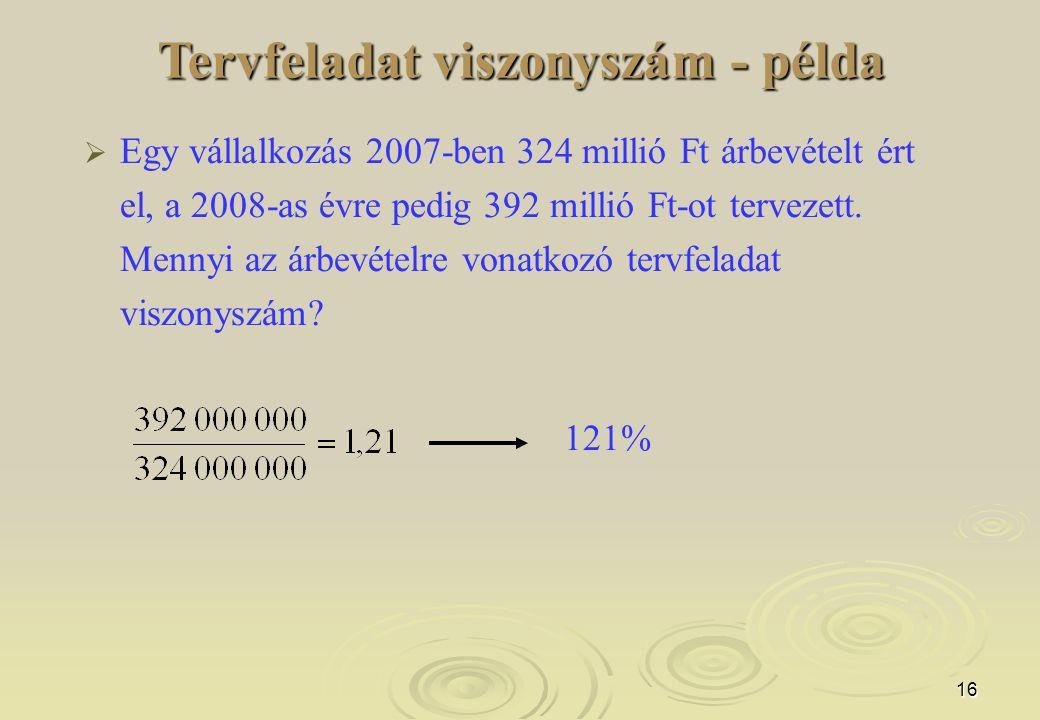 16 Tervfeladat viszonyszám - példa  Egy vállalkozás 2007-ben 324 millió Ft árbevételt ért el, a 2008-as évre pedig 392 millió Ft-ot tervezett.