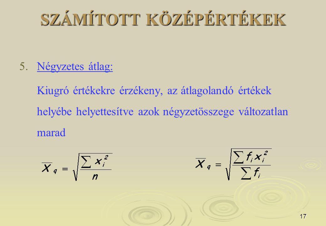 17 SZÁMÍTOTT KÖZÉPÉRTÉKEK 5.