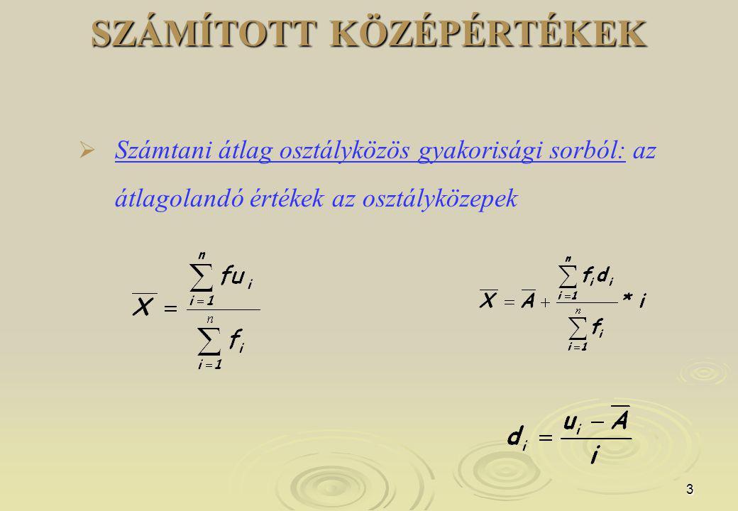 4 SZÁMÍTOTT KÖZÉPÉRTÉKEK 2.