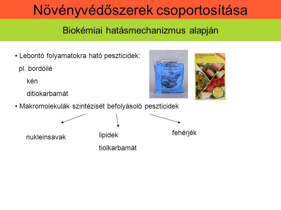 Növényvédőszerek csoportosítása Biokémiai hatásmechanizmus alapján Növényi életfolyamatokat befolyásoló vegyületek pl.