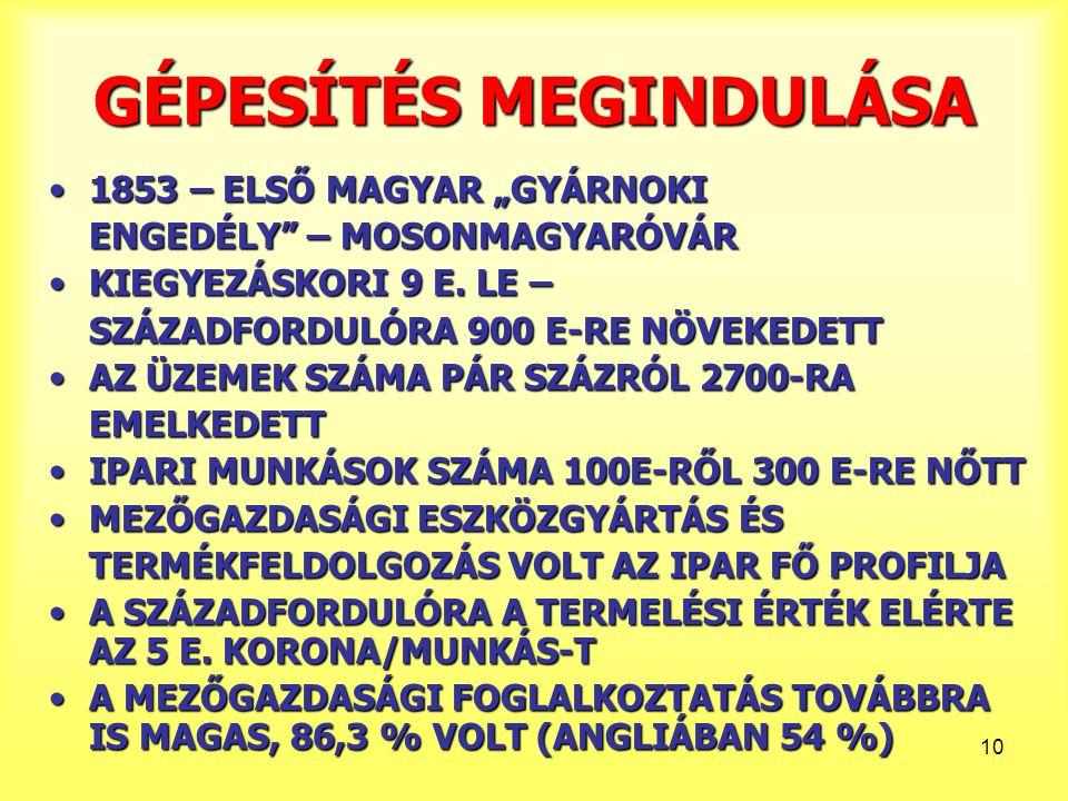 """10 GÉPESÍTÉS MEGINDULÁSA 1853 – ELSŐ MAGYAR """"GYÁRNOKI1853 – ELSŐ MAGYAR """"GYÁRNOKI ENGEDÉLY"""" – MOSONMAGYARÓVÁR KIEGYEZÁSKORI 9 E. LE –KIEGYEZÁSKORI 9 E"""