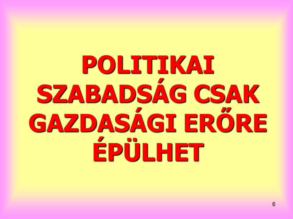 6 POLITIKAI SZABADSÁG CSAK GAZDASÁGI ERŐRE ÉPÜLHET
