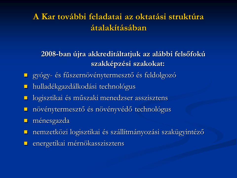 A Kar további feladatai az oktatási struktúra átalakításában 2008-ban újra akkreditáltatjuk az alábbi felsőfokú szakképzési szakokat: gyógy- és fűszer