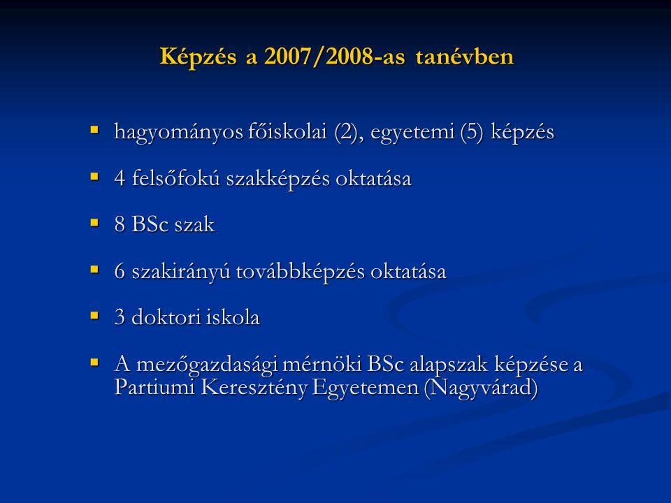 Képzés a 2007/2008-as tanévben  hagyományos főiskolai (2), egyetemi (5) képzés  4 felsőfokú szakképzés oktatása  8 BSc szak  6 szakirányú továbbké
