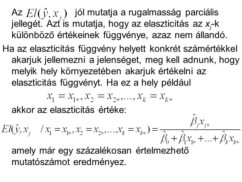 Az jól mutatja a rugalmasság parciális jellegét. Azt is mutatja, hogy az elaszticitás az x j -k különböző értékeinek függvénye, azaz nem állandó. Ha a
