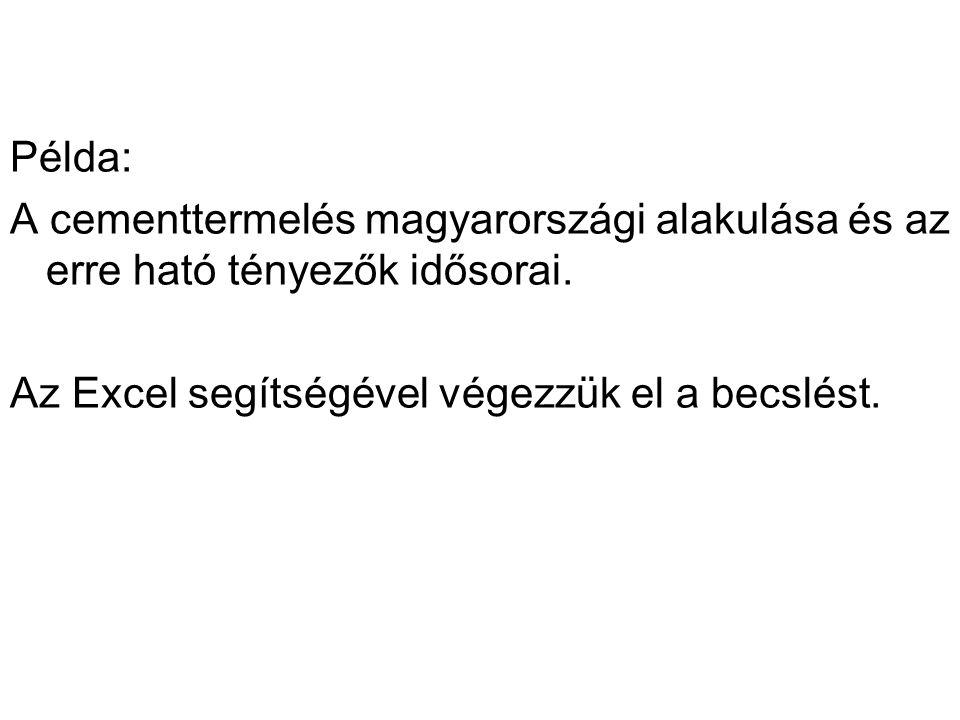 Példa: A cementtermelés magyarországi alakulása és az erre ható tényezők idősorai. Az Excel segítségével végezzük el a becslést.