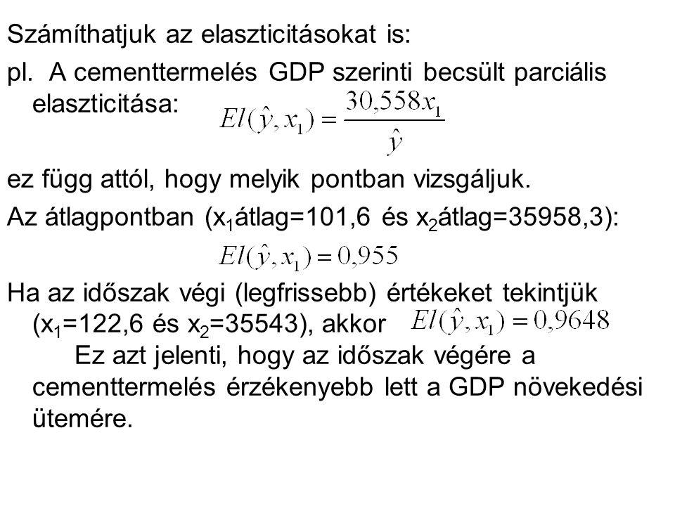 Számíthatjuk az elaszticitásokat is: pl. A cementtermelés GDP szerinti becsült parciális elaszticitása: ez függ attól, hogy melyik pontban vizsgáljuk.