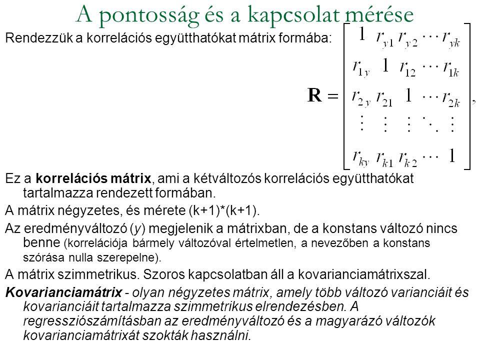 Rendezzük a korrelációs együtthatókat mátrix formába: Ez a korrelációs mátrix, ami a kétváltozós korrelációs együtthatókat tartalmazza rendezett formá