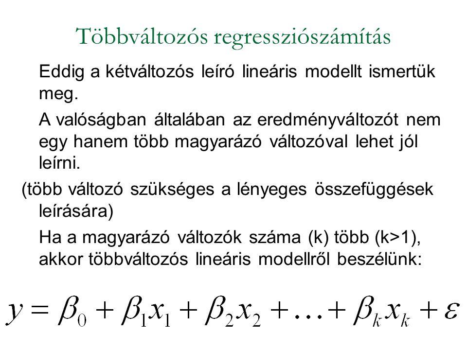 Eddig a kétváltozós leíró lineáris modellt ismertük meg. A valóságban általában az eredményváltozót nem egy hanem több magyarázó változóval lehet jól