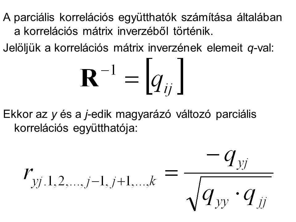 A parciális korrelációs együtthatók számítása általában a korrelációs mátrix inverzéből történik. Jelöljük a korrelációs mátrix inverzének elemeit q-v
