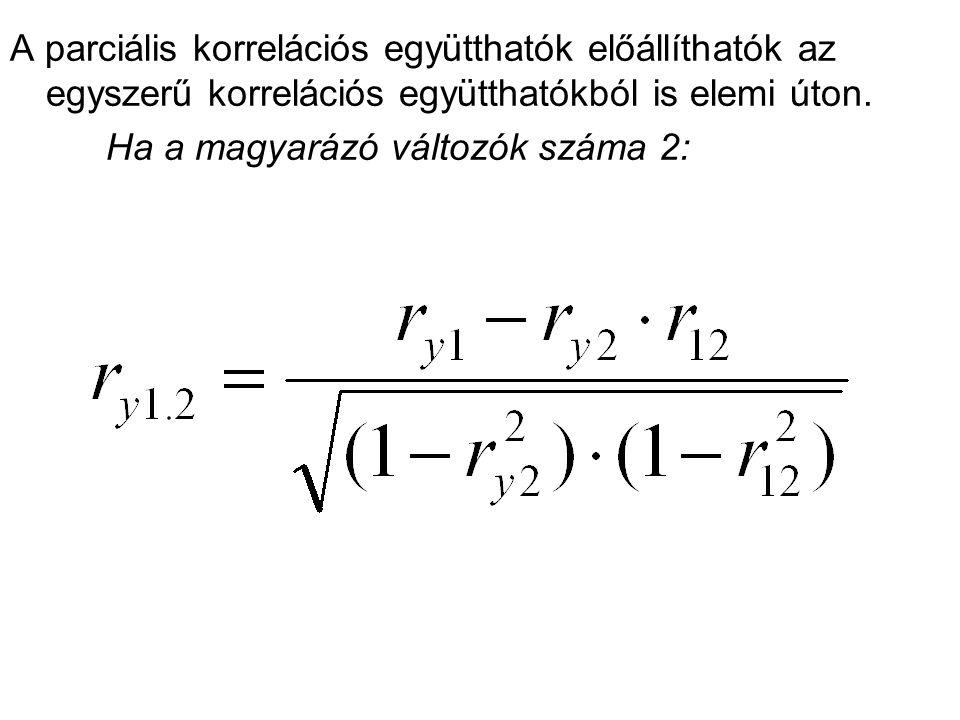 A parciális korrelációs együtthatók előállíthatók az egyszerű korrelációs együtthatókból is elemi úton. Ha a magyarázó változók száma 2: