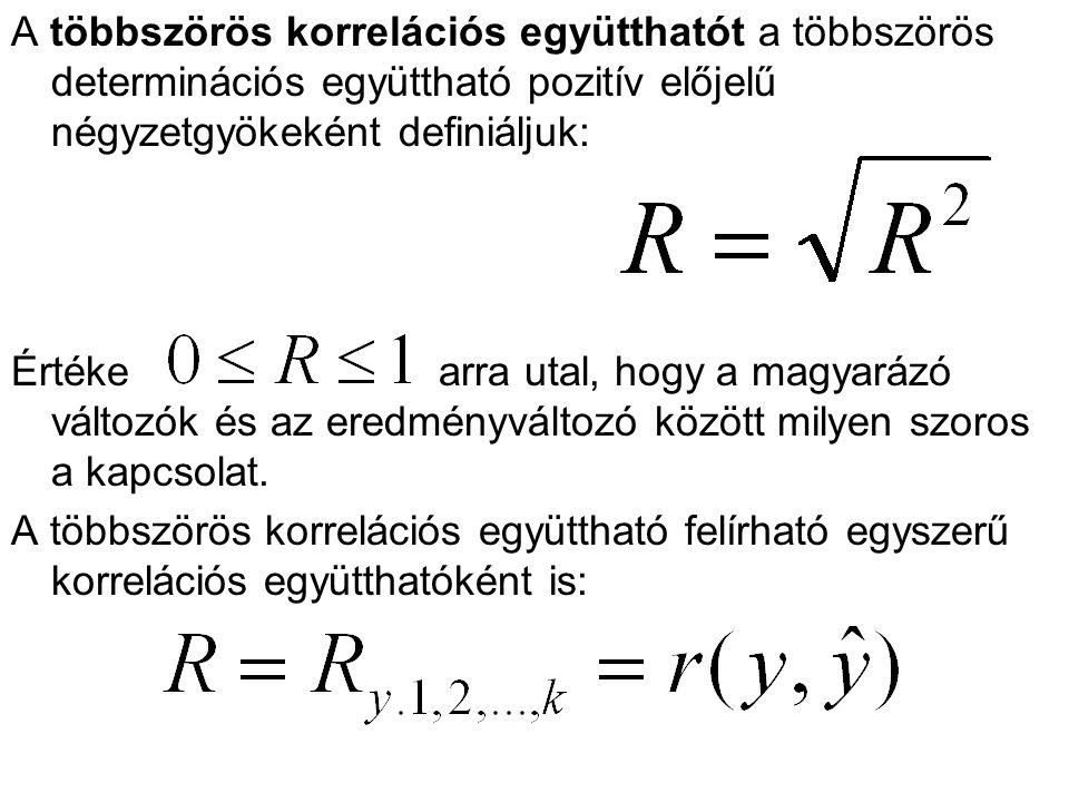 A többszörös korrelációs együtthatót a többszörös determinációs együttható pozitív előjelű négyzetgyökeként definiáljuk: Értéke arra utal, hogy a magy