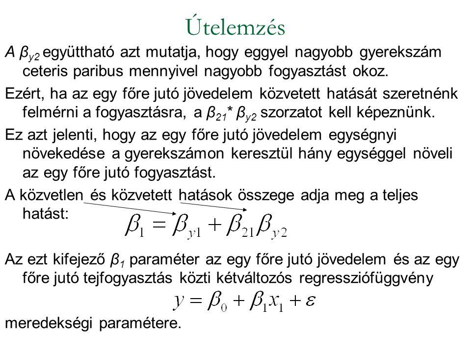 A β y2 együttható azt mutatja, hogy eggyel nagyobb gyerekszám ceteris paribus mennyivel nagyobb fogyasztást okoz. Ezért, ha az egy főre jutó jövedelem