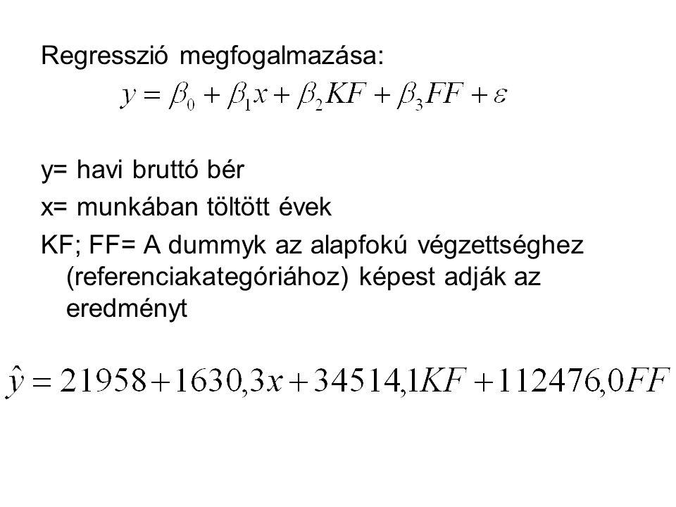Regresszió megfogalmazása: y= havi bruttó bér x= munkában töltött évek KF; FF= A dummyk az alapfokú végzettséghez (referenciakategóriához) képest adjá