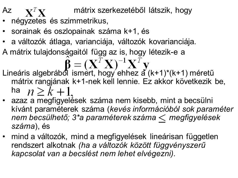 Azmátrix szerkezetéből látszik, hogy négyzetes és szimmetrikus, sorainak és oszlopainak száma k+1, és a változók átlaga, varianciája, változók kovaria