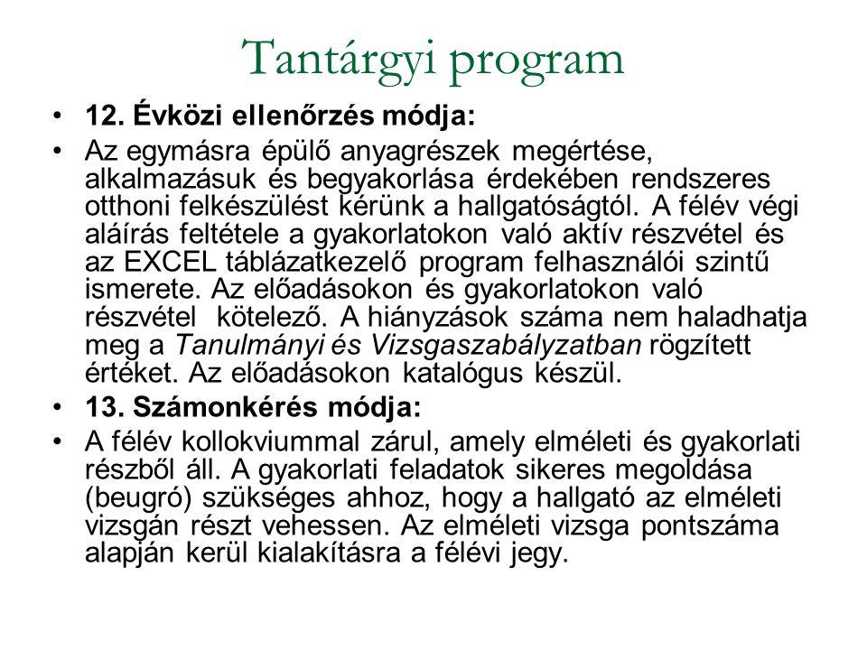 Kötelező irodalom: Hunyadi L.– Vita L.: Statisztika I.