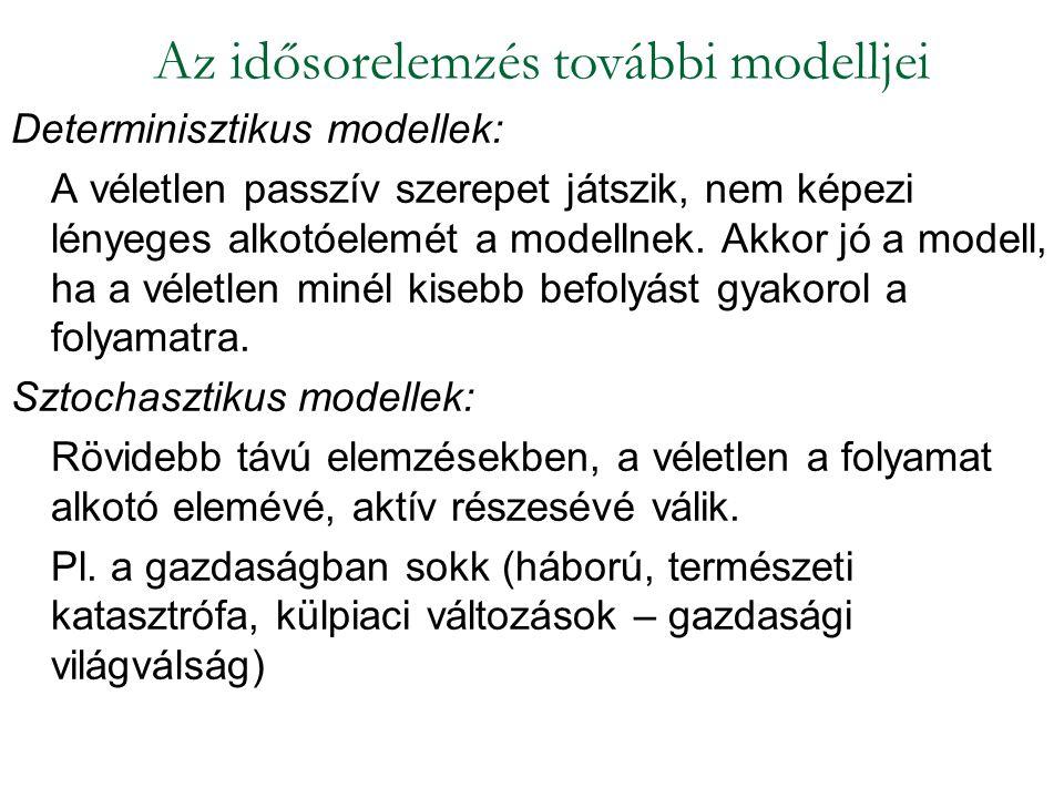 Determinisztikus modellek: A véletlen passzív szerepet játszik, nem képezi lényeges alkotóelemét a modellnek. Akkor jó a modell, ha a véletlen minél k