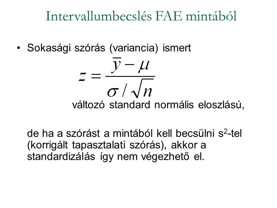 Sokasági szórás (variancia) ismert változó standard normális eloszlású, de ha a szórást a mintából kell becsülni s 2 -tel (korrigált tapasztalati szórás), akkor a standardizálás így nem végezhető el.