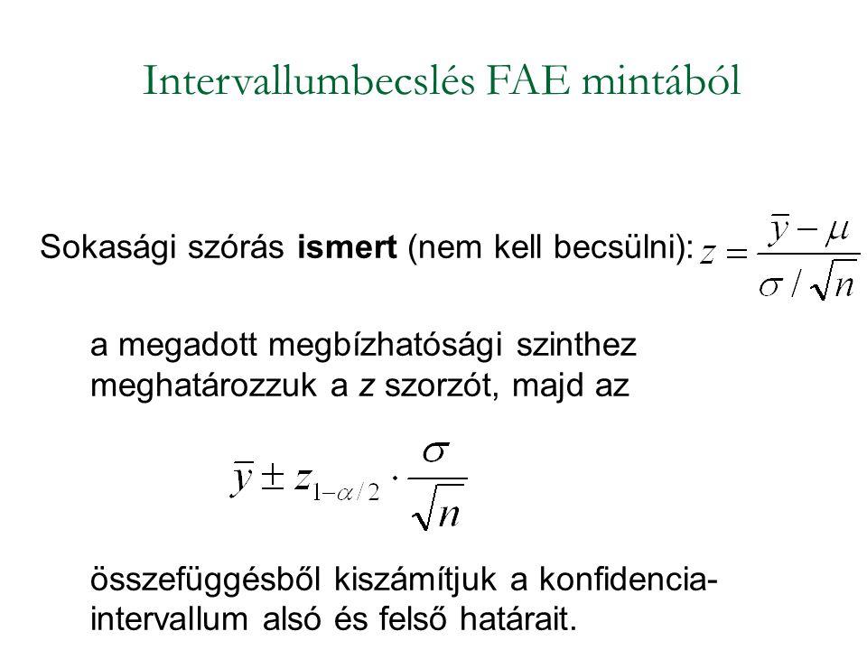Sokasági szórás ismert (nem kell becsülni): a megadott megbízhatósági szinthez meghatározzuk a z szorzót, majd az összefüggésből kiszámítjuk a konfidencia- intervallum alsó és felső határait.