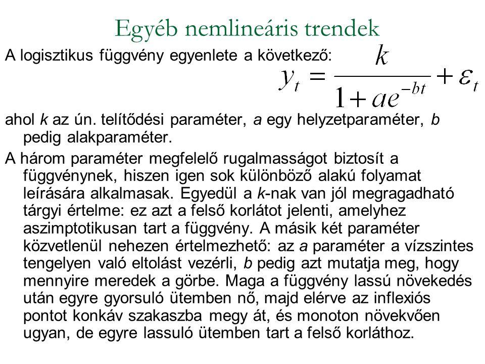 A logisztikus függvény egyenlete a következő: ahol k az ún. telítődési paraméter, a egy helyzetparaméter, b pedig alakparaméter. A három paraméter meg