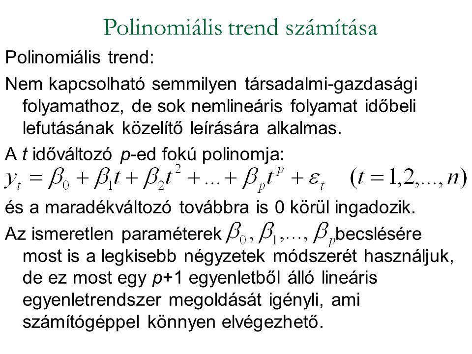 Polinomiális trend: Nem kapcsolható semmilyen társadalmi-gazdasági folyamathoz, de sok nemlineáris folyamat időbeli lefutásának közelítő leírására alk