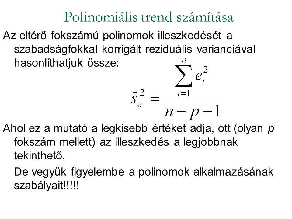 Az eltérő fokszámú polinomok illeszkedését a szabadságfokkal korrigált reziduális varianciával hasonlíthatjuk össze: Ahol ez a mutató a legkisebb érté