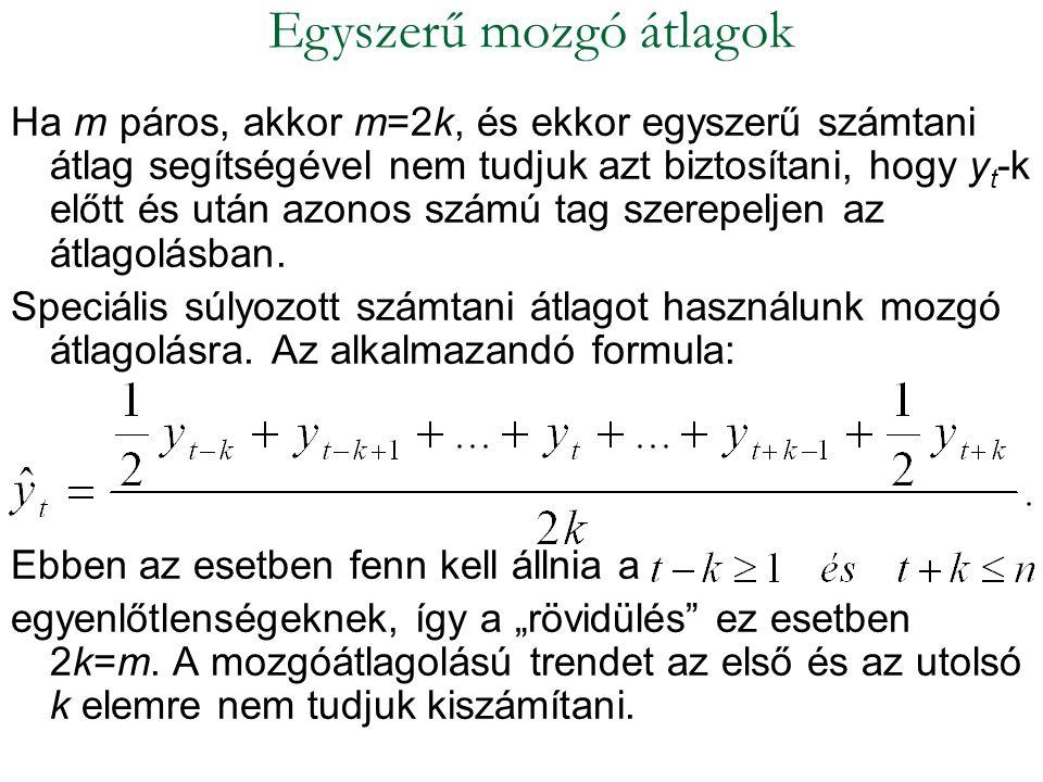 Ha m páros, akkor m=2k, és ekkor egyszerű számtani átlag segítségével nem tudjuk azt biztosítani, hogy y t -k előtt és után azonos számú tag szerepelj