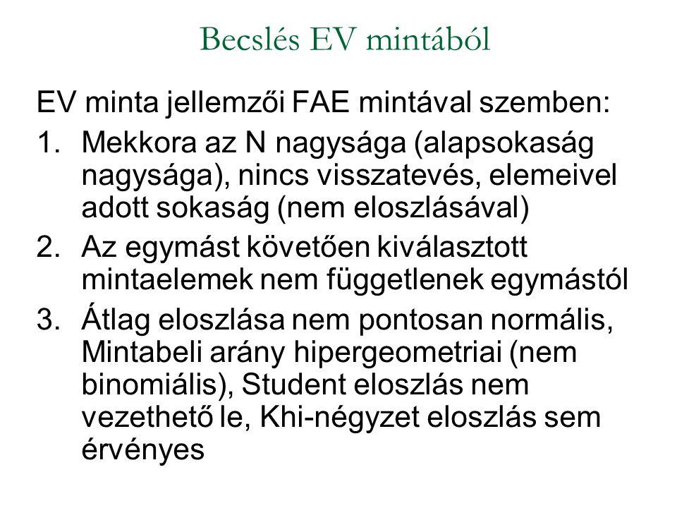 EV minta jellemzői FAE mintával szemben: 1.Mekkora az N nagysága (alapsokaság nagysága), nincs visszatevés, elemeivel adott sokaság (nem eloszlásával)