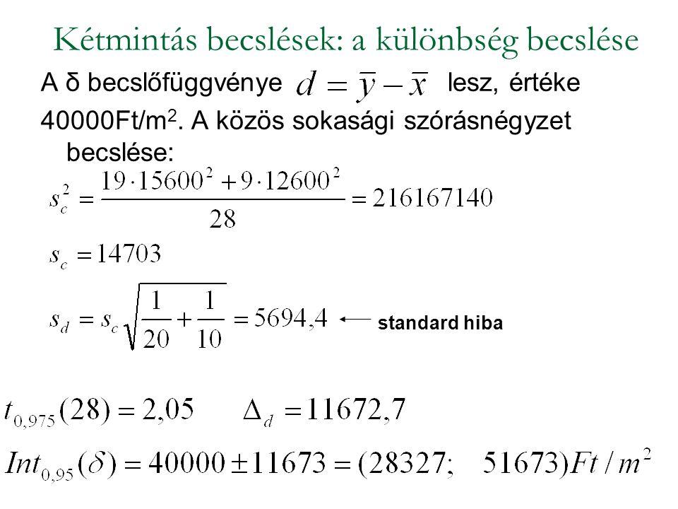 A δ becslőfüggvényelesz, értéke 40000Ft/m 2. A közös sokasági szórásnégyzet becslése: Kétmintás becslések: a különbség becslése standard hiba