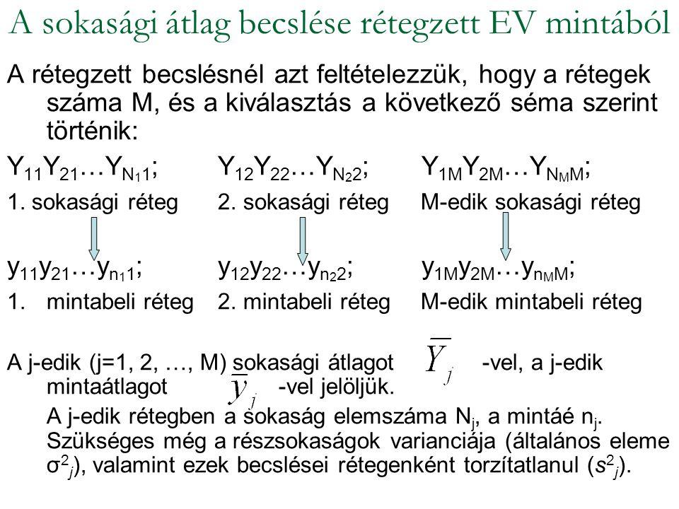 A rétegzett becslésnél azt feltételezzük, hogy a rétegek száma M, és a kiválasztás a következő séma szerint történik: Y 11 Y 21 …Y N 1 1 ; Y 12 Y 22 …