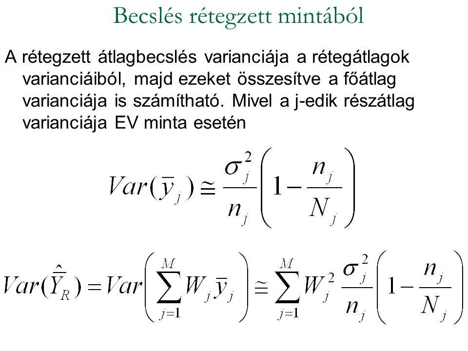 A rétegzett átlagbecslés varianciája a rétegátlagok varianciáiból, majd ezeket összesítve a főátlag varianciája is számítható. Mivel a j-edik részátla