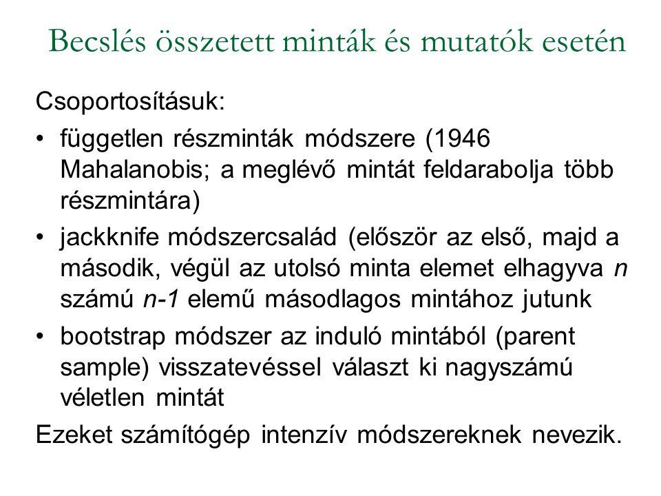Csoportosításuk: független részminták módszere (1946 Mahalanobis; a meglévő mintát feldarabolja több részmintára) jackknife módszercsalád (először az
