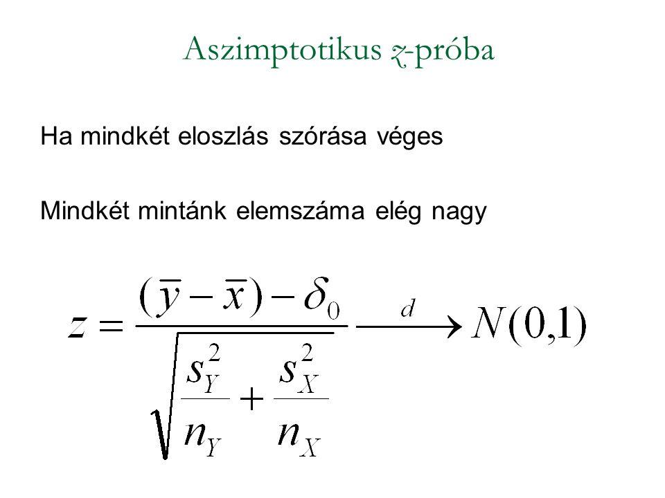 Ha mindkét eloszlás szórása véges Mindkét mintánk elemszáma elég nagy Aszimptotikus z-próba