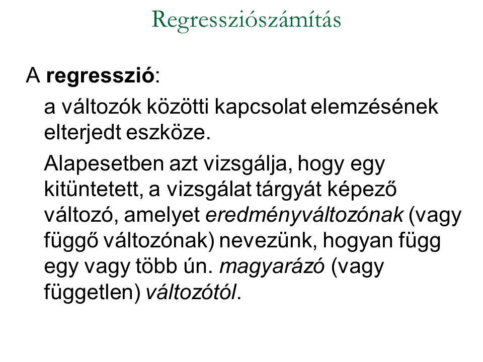 A regresszió: a változók közötti kapcsolat elemzésének elterjedt eszköze. Alapesetben azt vizsgálja, hogy egy kitüntetett, a vizsgálat tárgyát képező