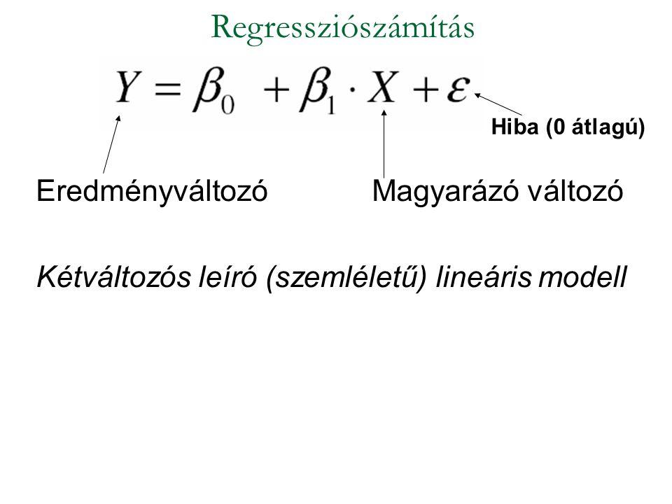 EredményváltozóMagyarázó változó Kétváltozós leíró (szemléletű) lineáris modell Regressziószámítás Hiba (0 átlagú)
