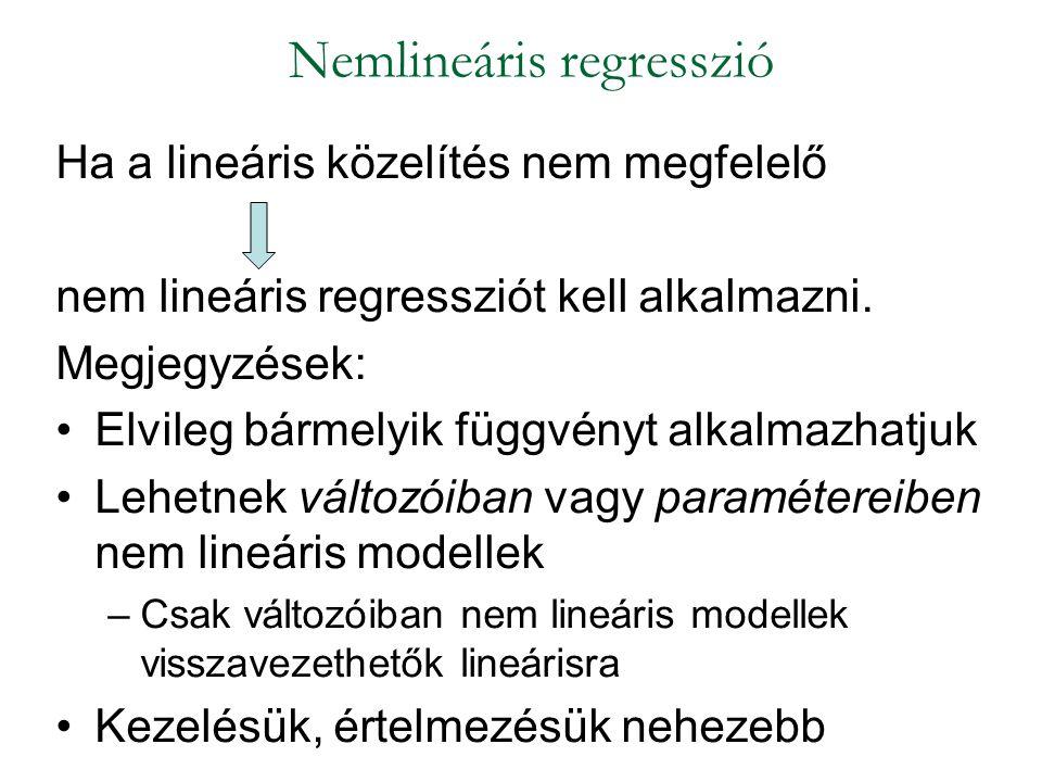 Ha a lineáris közelítés nem megfelelő nem lineáris regressziót kell alkalmazni. Megjegyzések: Elvileg bármelyik függvényt alkalmazhatjuk Lehetnek vált
