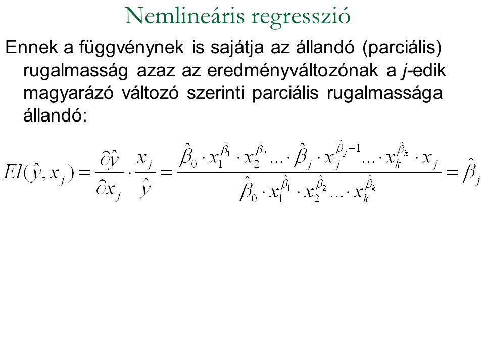 Ennek a függvénynek is sajátja az állandó (parciális) rugalmasság azaz az eredményváltozónak a j-edik magyarázó változó szerinti parciális rugalmasság