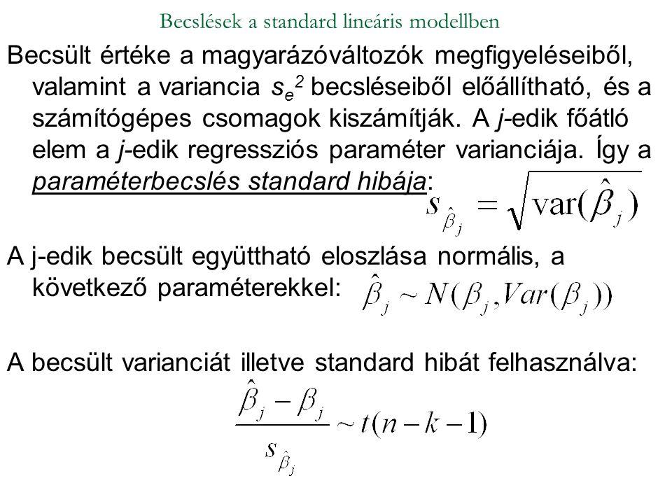 Becsült értéke a magyarázóváltozók megfigyeléseiből, valamint a variancia s e 2 becsléseiből előállítható, és a számítógépes csomagok kiszámítják. A j