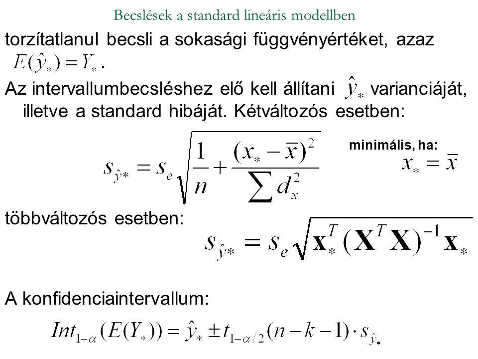 torzítatlanul becsli a sokasági függvényértéket, azaz. Az intervallumbecsléshez elő kell állítani varianciáját, illetve a standard hibáját. Kétváltozó