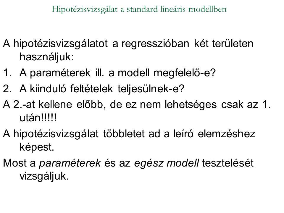 A hipotézisvizsgálatot a regresszióban két területen használjuk: 1.A paraméterek ill. a modell megfelelő-e? 2.A kiinduló feltételek teljesülnek-e? A 2