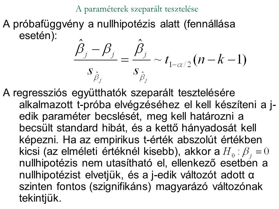 A próbafüggvény a nullhipotézis alatt (fennállása esetén): A regressziós együtthatók szeparált tesztelésére alkalmazott t-próba elvégzéséhez el kell k