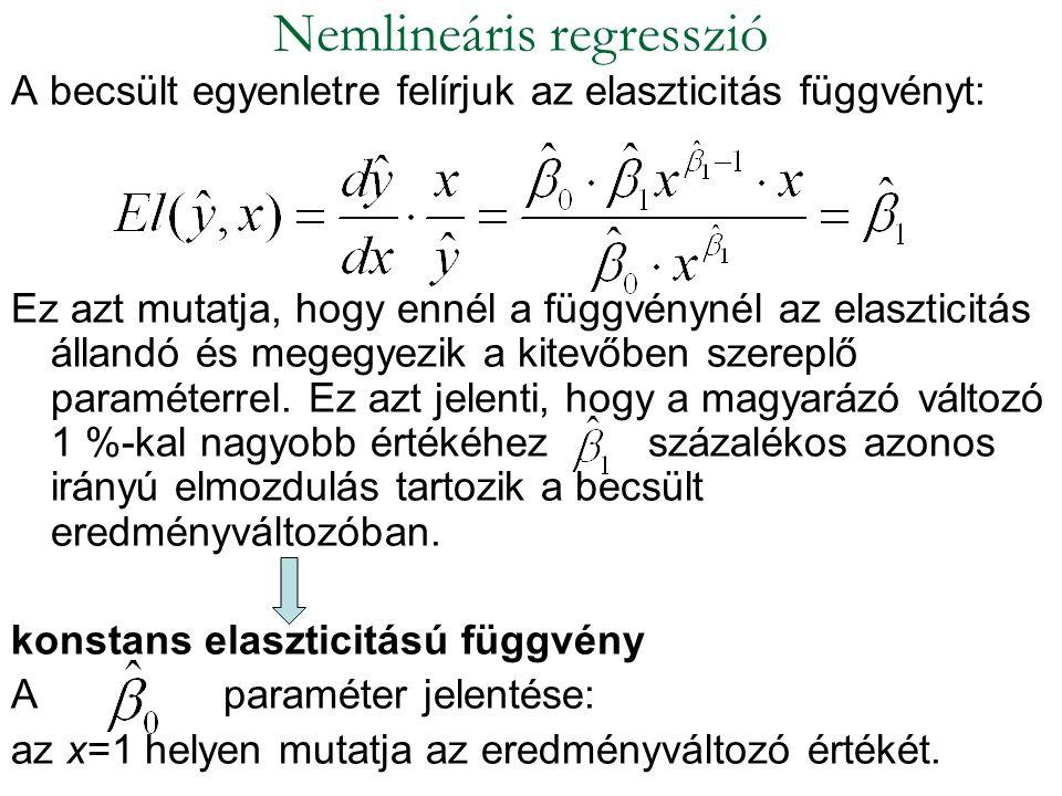 A becsült egyenletre felírjuk az elaszticitás függvényt: Ez azt mutatja, hogy ennél a függvénynél az elaszticitás állandó és megegyezik a kitevőben sz