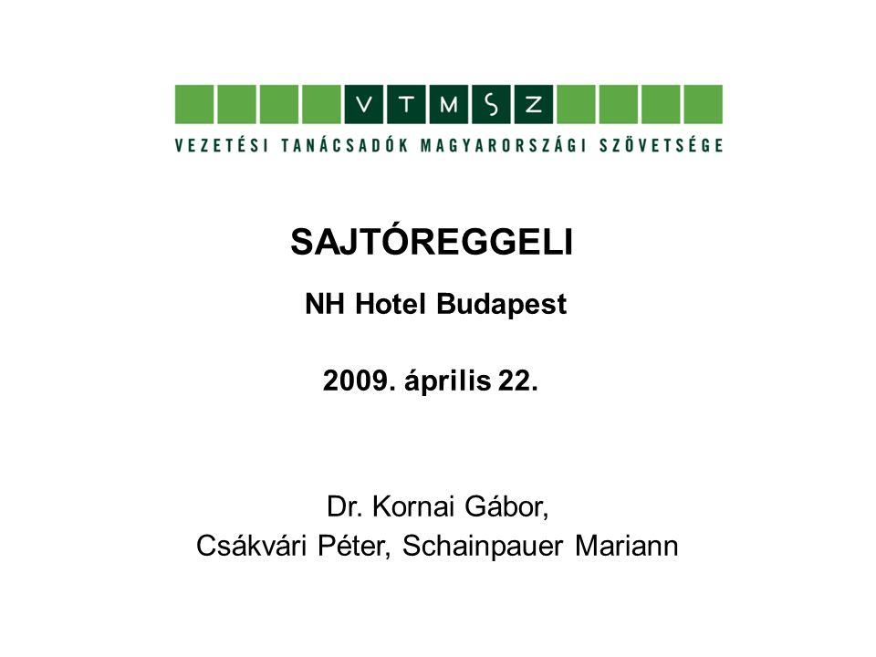 SAJTÓREGGELI NH Hotel Budapest 2009. április 22. Dr.
