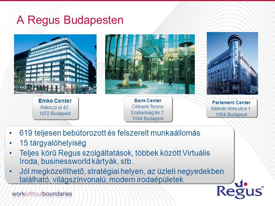 A Regus Budapesten 619 teljesen bebútorozott és felszerelt munkaállomás 15 tárgyalóhelyiség Teljes körű Regus szolgáltatások, többek között Virtuális Iroda, businessworld kártyák, stb.