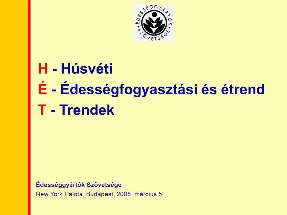 Édességgyártók Szövetsége New York Palota, Budapest, 2008. március 5. H - Húsvéti É - Édességfogyasztási és étrend T - Trendek