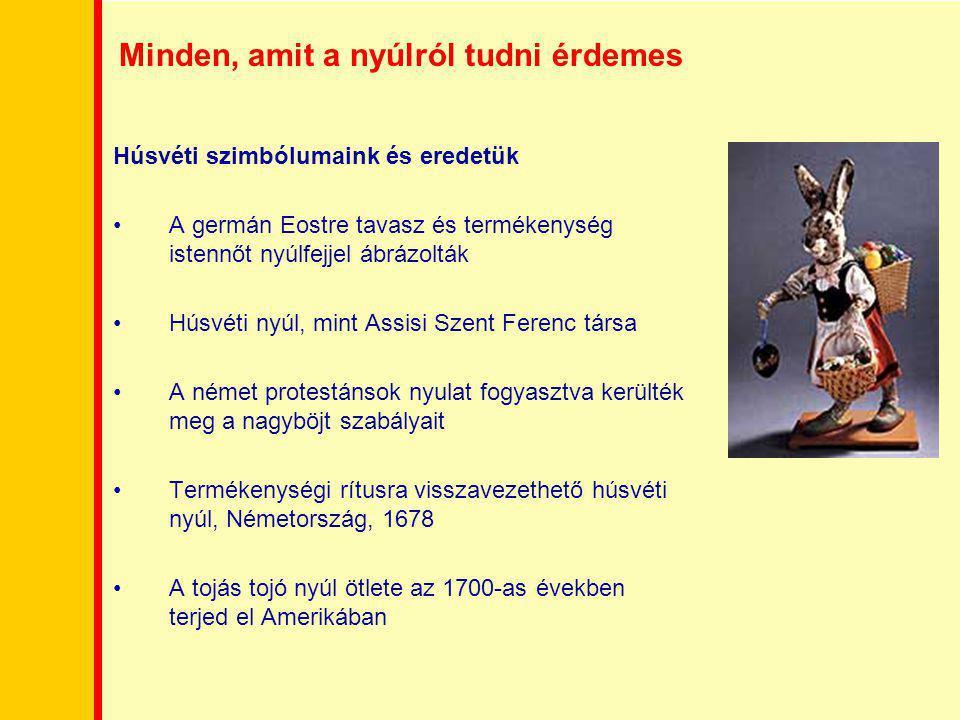 Minden, amit a nyúlról tudni érdemes Húsvéti szimbólumaink és eredetük A germán Eostre tavasz és termékenység istennőt nyúlfejjel ábrázolták Húsvéti n