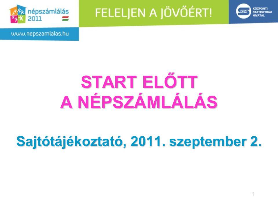 1 START ELŐTT A NÉPSZÁMLÁLÁS Sajtótájékoztató, 2011. szeptember 2.