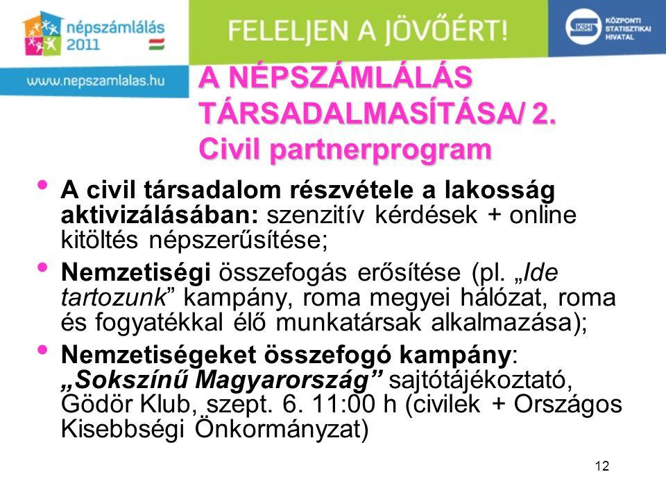 12 A NÉPSZÁMLÁLÁS TÁRSADALMASÍTÁSA/ 2. Civil partnerprogram A civil társadalom részvétele a lakosság aktivizálásában: szenzitív kérdések + online kitö