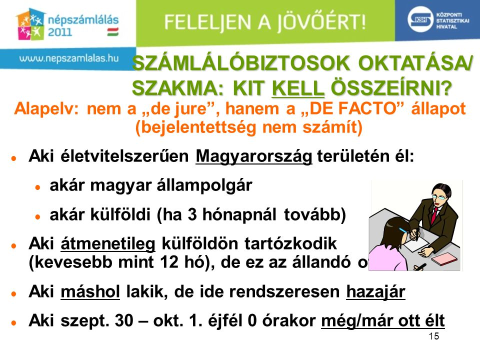 """15 Alapelv: nem a """"de jure , hanem a """"DE FACTO állapot (bejelentettség nem számít) Aki életvitelszerűen Magyarország területén él: akár magyar állampolgár akár külföldi (ha 3 hónapnál tovább) Aki átmenetileg külföldön tartózkodik (kevesebb mint 12 hó), de ez az állandó otthona Aki máshol lakik, de ide rendszeresen hazajár Aki szept."""